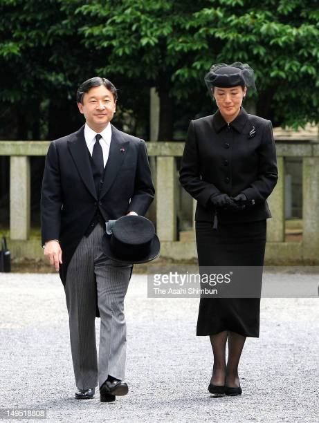Crown Prince Naruhito and Crown Princess Masako attend the memorial service to commemorate 50 days after the death of Prince Tomohito of Mikasa at...