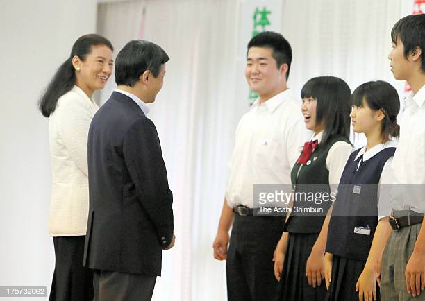 Crown Prince Naruhito and Crown Princess Masako attend the workshop of 'OECD Tohoku School' at the National Institute for the Promotion of Youth...