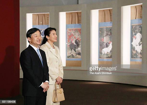 Crown Prince Naruhito and Crown Princess Masako attends the 300th Anniversary of his Birth Jakuchu at the Tokyo Metropolitan Art Museum on May 12...