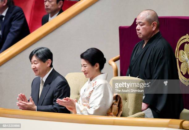 Crown Prince Naruhito and Crown Princess Masako enjoy bouts during day one of the Grand Sumo Summer Tournament at Ryogoku Kokugikan on May 14 2017 in...