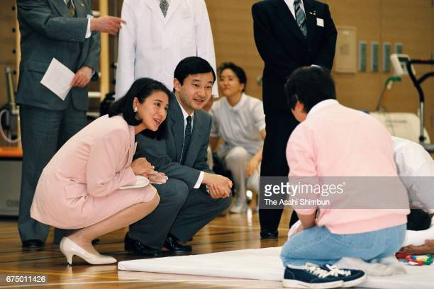 Crown Prince Naruhito and Crown Princess Masako inspect a rehabilitation session at Ibaraki Prefectural University of Health Sciences on April 25...