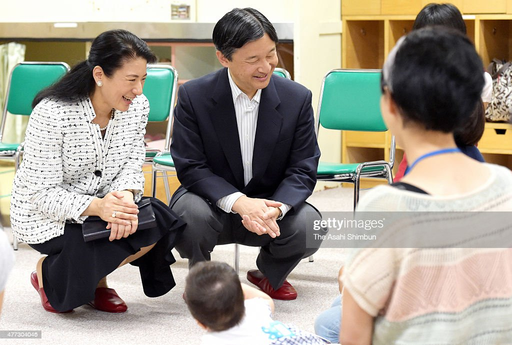 Crown Prince Naruhito and Crown Princess Masako inspect a child-raising support center 'Yuttarino' on June 16, 2015 in Tokyo, Japan.