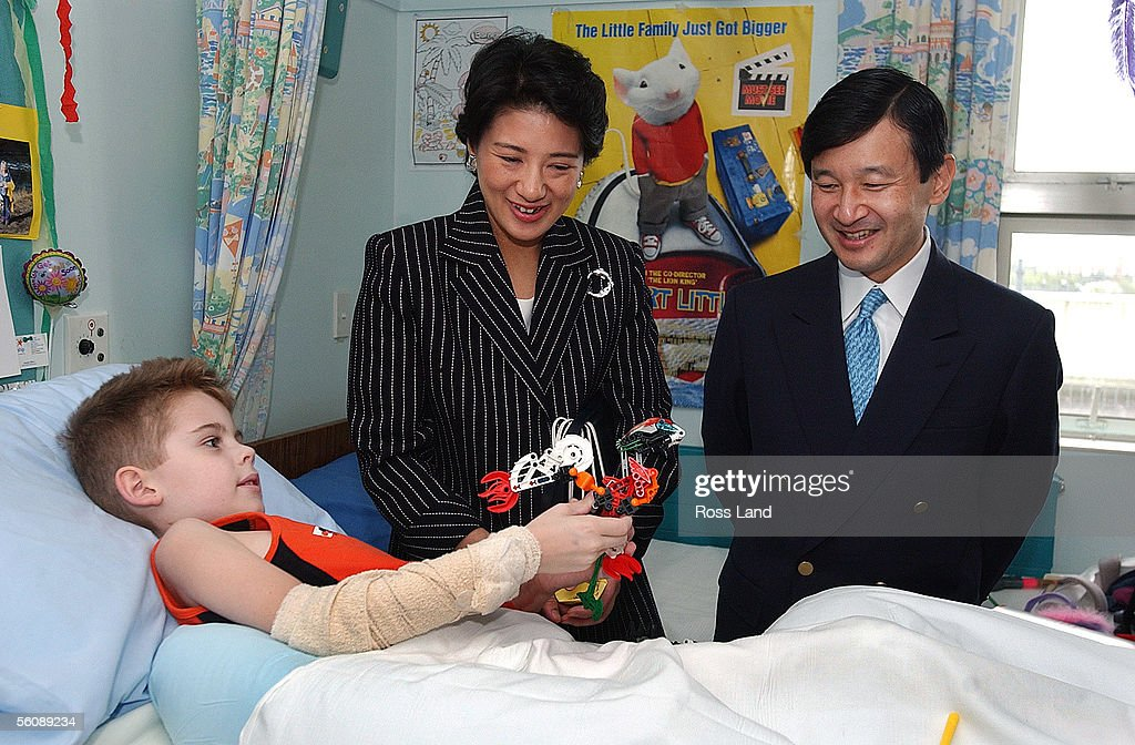 Crown prince Naruhito and crown Princess Masako meet 8 year old Hamish Ashton during a visit to the Auckland Starship Childrens Hospital. Hamish who has been a patient at the hospital for nine weeks entertained his Regal guest with lego bionicle toys. The Japanese Royal couple were in Auckland on the last day of their five day visit to New Zealand.