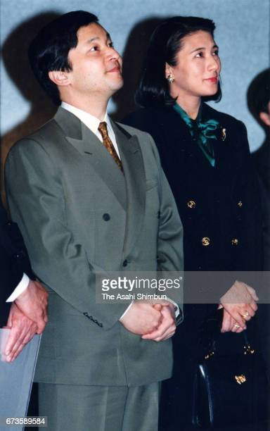 Crown Prince Naruhito and Crown Princess Masako visit a Kofukuji Temple exhibition at Tokyo National Museum on February 10 1997 in Tokyo Japan