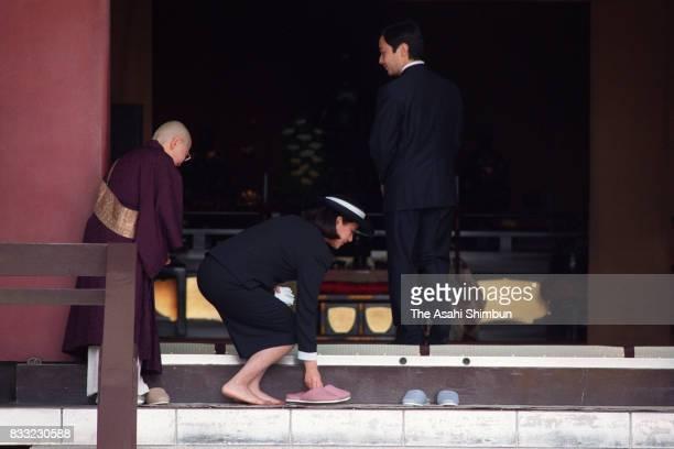 Crown Prince Naruhito and Crown Princess Masako visit Chuguji Temple on April 22 1994 in Ikaruga Nara Japan