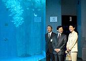 Crown Prince Naruhito and Crown Princess Masako visit Kagoshima Aquarium on October 30 2015 in Kagoshima Japan