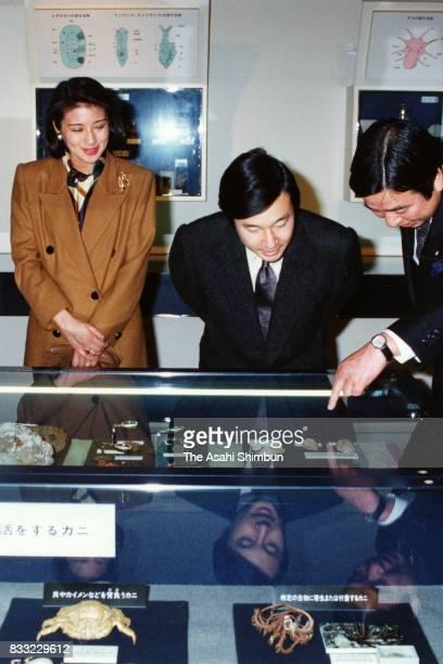 Crown Prince Naruhito and Crown Princess Masako visit the Hayama Shiosai Park Museum on March 5 1994 in Hayama Kanagawa Japan
