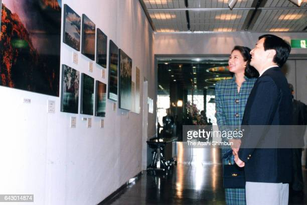 Crown Prince Naruhito and Crown Princess Masako visit the Japan Mountaineer Photo exhibition at Tokyo Metropolitan Theatre on September 11 1998 in...