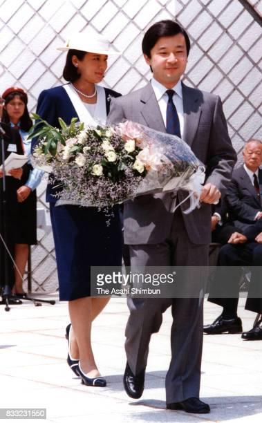 Crown Prince Naruhito and Crown Princess Masako visit the memorial for wardead sailors at Kannonzaki Park on May 13 1994 in Yokosuka Kanagawa Japan