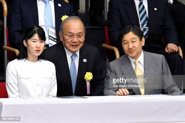 Crown Prince Naruhito and Princess Aiko attend a wheelchair basketball match at the Tokyo Metropolitan Gymnasium on May 5 2017 in Tokyo Japan