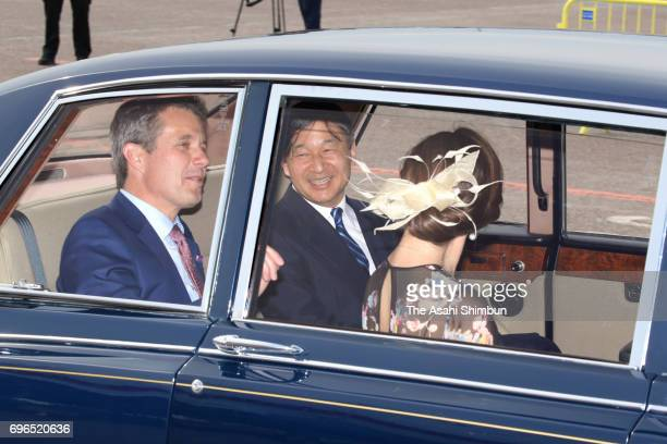 Crown Prince Naruhito Crown Prince Frederik and Crown Princess Mary of Denmark leave at Copenhagen Airport on June 15 2017 in Copenhagen Denmark