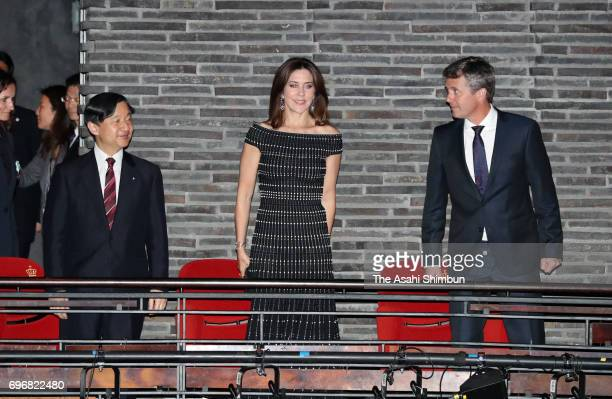 Crown Prince Naruhito Crown Princess Mary Crown Prince Frederik of Denmark attend a Japanese music concert on June 16 2017 in Copenhagen Denmark
