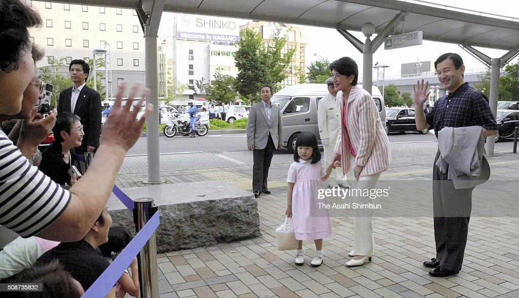 Crown Prince Naruhito Crown Princess Masako and Princess Aiko are seen on arrival at the Nagano Station on August 29 2005 in Nagano Japan