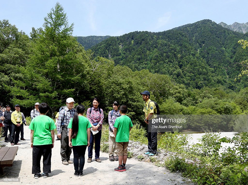 Crown Prince Naruhito Crown Princess Masako and Princess Aiko are seen before trekking on the first 'Mountain Day' new national holiday on August 11...