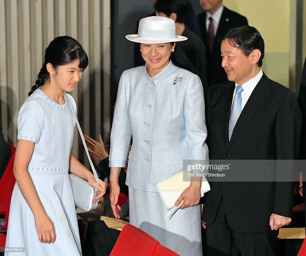 Crown Prince Naruhito Crown Princess Masako and Princess Aiko attend a symposium on water on August 1 2016 in Tokyo Japan