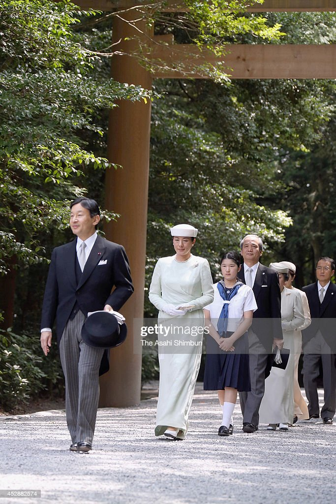 Crown Prince Naruhito Crown Princess Masako and Princess Aiko visit the 'Geku ' of the Ise Shrine on July 29 2014 in Ise Mie Japan The royal family...