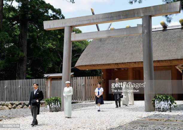 Crown Prince Naruhito Crown Princess Masako and Princess Aiko walk after visiting the 'Naiku ' of the Ise Shrine on July 29 2014 in Ise Mie Japan The...