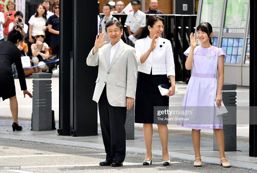 Crown Prince Naruhito Crown Princess Masako and Princess Aiko wave to wellwishers on arrival at the JR Matsumoto Station on August 10 2016 in...