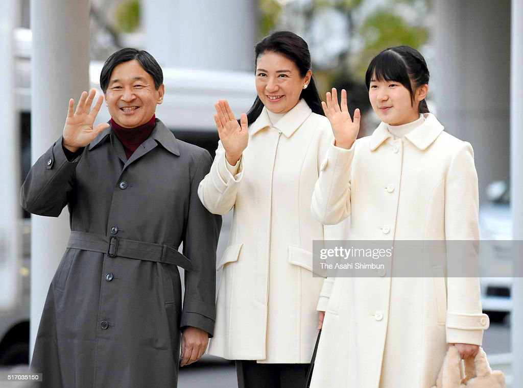Crown Prince Naruhito Crown Princess Masako and their daughter Princess Aiko wave to wellwishers on arrival at the JR Nagano Station on March 22 2016...