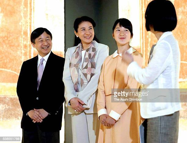 Crown Prince Naruhito Crown Princess Masako and their daughter Princess Aiko visit the 'La Pittura Parietale Ramana A Pompei' exhibition at the Mori...