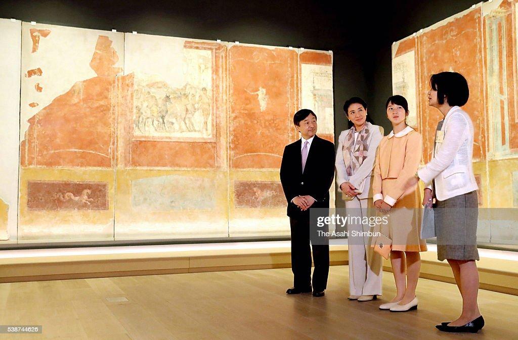 Crown Prince Naruhito Crown Princess Masako and their daughter Princess Aiko visit the 'La Pittura Parietale Ramana A Pompei' exhibition at the Mori...