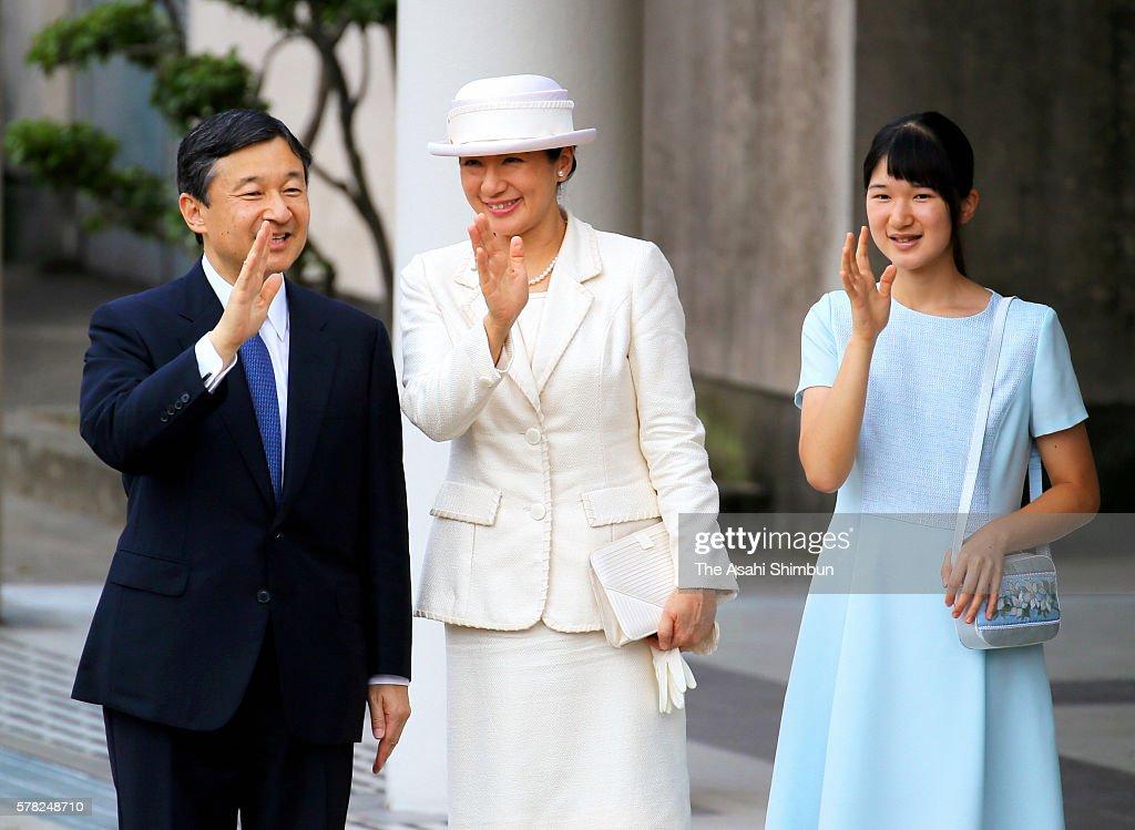 Crown Prince Naruhito Crown Princess Masako and their daughter Princess Aiko wave to wellwishers on arrival at Kashihara Jingu Station to visit the...