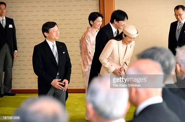 Crown Prince Naruhito Crown Princess Masako Prince Akishino and Princess Kiko of Akishino attend the tea party the recipients of the Order of Culture...
