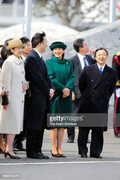 Crown Prince Naruhito Crown Princess Masako Prince Akishino and Princess Kiko of Akishino see off Emperor Akihito and Empress Michiko at Haneda...