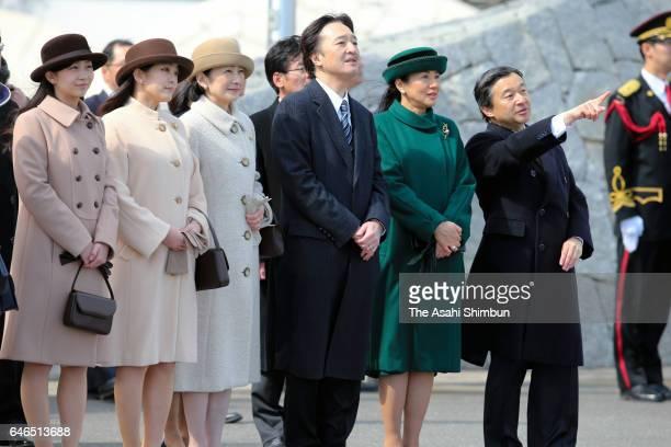 Crown Prince Naruhito Crown Princess Masako Prince Akishino Princess Kiko Princess Mako and Princess Kako see off Emperor Akihito and Empress Michiko...