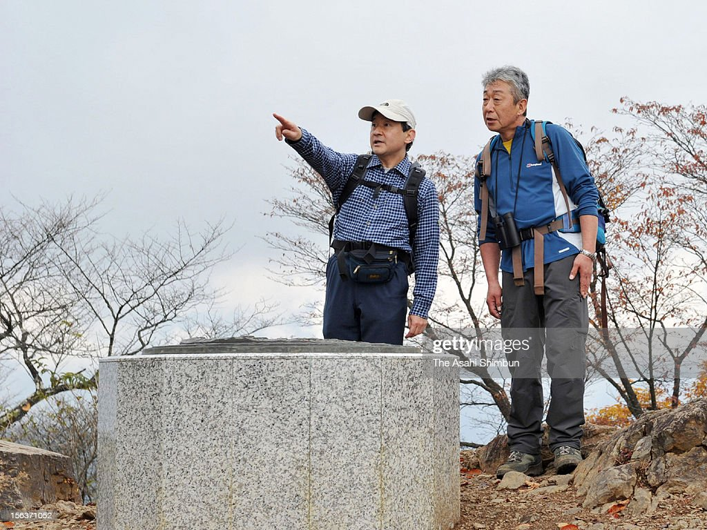 Crown Prince Naruhito (L) is seen at the summit of Mt. Hinode on November 13, 2012 in Hinode, Tokyo, Japan.