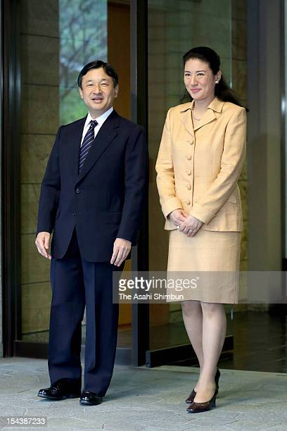 Crown Prince Naruhito is seen off by Crown Princess Masako at the Togu Palace on October 18 2012 in Tokyo Japan The prince will visit Luxemburg to...