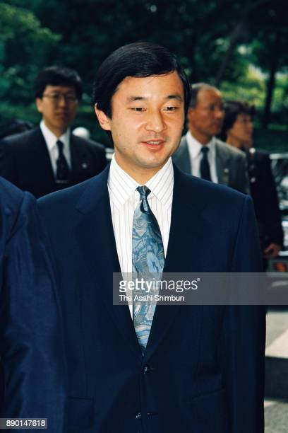 Crown Prince Naruhito is seen on arrival at the Tokyo Metropolitan Gymnasium to attend the wedding celebration ceremony hosted by Tokyo Metropolitan...