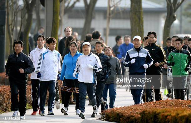 Crown Prince Naruhito jogs around the Imperial Palace on February 25 2015 in Tokyo Japan The crown prince usually jogs in the Akasaka Imperial Ground...