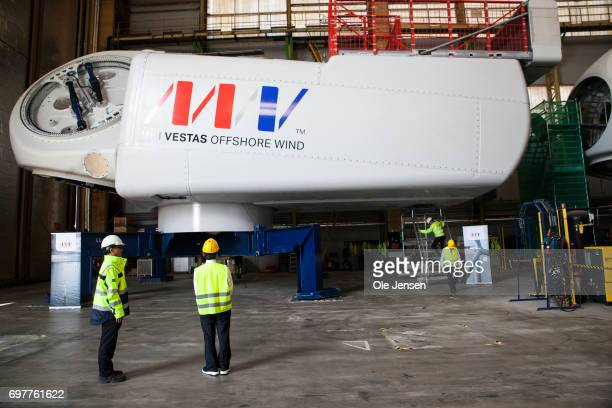 Crown Prince Naruhito of Japan at the MHI Vestas Offshore Wind 95 MW windmill where he is shown the large nacelle generator on June 19 Odense Denmark...