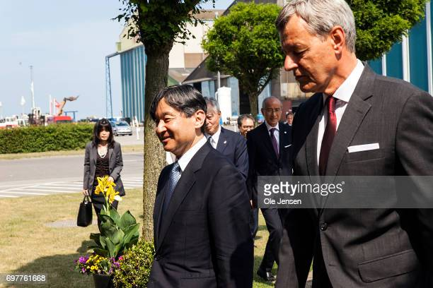 Crown Prince Naruhito of Japan is welcomed to MHI Vestas Offshore Wind by CEO Jens Tommerup on June 19 Odense Denmark The windmill factory is a joint...