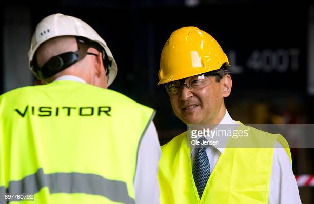 Crown Prince Naruhito of Japan is welcomed to MHI Vestas Offshore Wind where he is shown the large nacelle generator on June 19 Odense Denmark The...