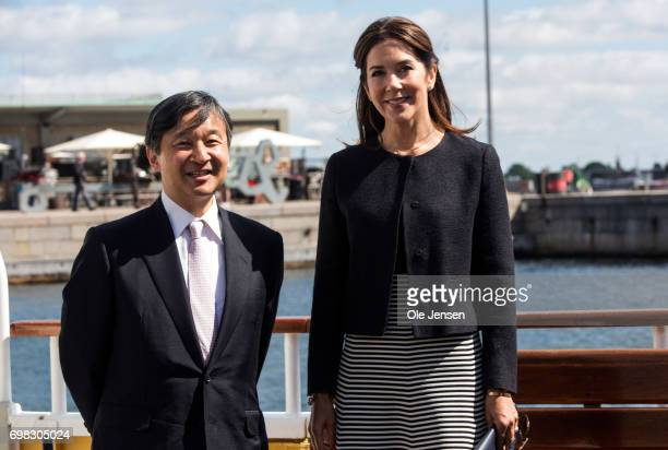 Crown Prince Naruhito of Japan on a boat trip with Crown Princess Mary of Denmark on June 20 Copenhagen Denmark The trip went through the channel in...