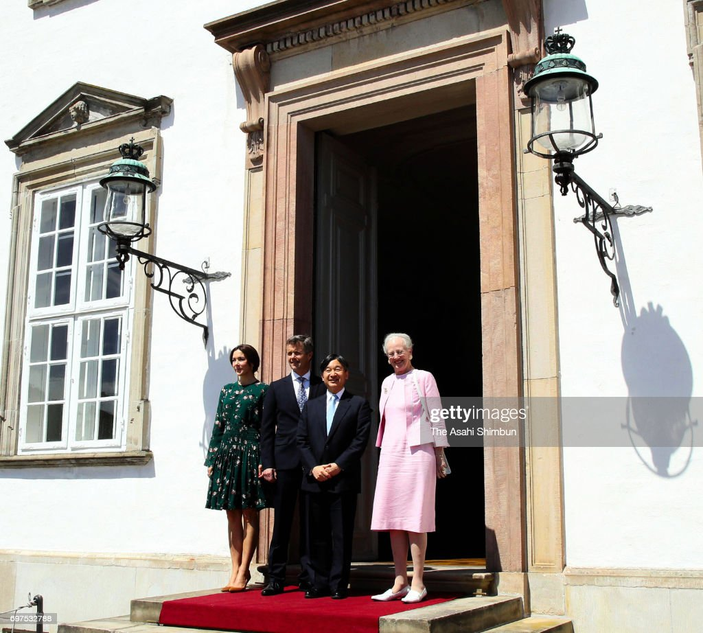 Crown Prince Naruhito of Japan (2nd R) poses with Queen Margrethe II (1st R), Crown Prince Frederik (2nd L) and Crown Princess Mary (1st L) of Denmark pose for photographs on arrival at Fredensborg Palace on June 18, 2017 in Fredensborg, Denmark.