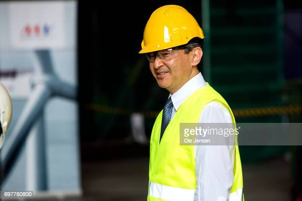 Crown Prince Naruhito of Japan visits the MHI Vestas Offshore Wind where he is shown the large nacelle generator on June 19 Odense Denmark The...