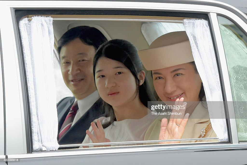 <a gi-track='captionPersonalityLinkClicked' href=/galleries/search?phrase=Crown+Prince+Naruhito&family=editorial&specificpeople=158365 ng-click='$event.stopPropagation()'>Crown Prince Naruhito</a>, <a gi-track='captionPersonalityLinkClicked' href=/galleries/search?phrase=Princess+Aiko&family=editorial&specificpeople=561464 ng-click='$event.stopPropagation()'>Princess Aiko</a> and <a gi-track='captionPersonalityLinkClicked' href=/galleries/search?phrase=Crown+Princess+Masako&family=editorial&specificpeople=580174 ng-click='$event.stopPropagation()'>Crown Princess Masako</a> are seen upon arrival at the Japanese folklore show at the Imperial Palace on July 13, 2014 in Tokyo, Japan. The show is hosted by Empress Michiko to celebrate the Emperor's 80th birthday.