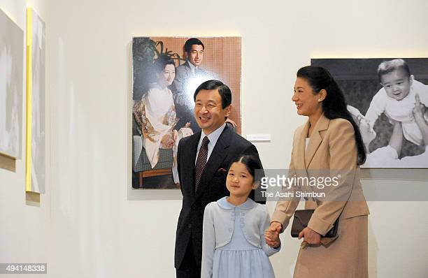 Crown Prince Naruhito Princess Aiko and Crown Princess Masako attend the 'Empress And Her Children' Photo Exhibition at Nihonbashi takashimaya...
