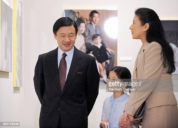 Crown Prince Naruhito Princess Aiko and Crown Princess Masako attend the 'Empress And Her Children' Photo Exhibition at Nihonbashi takashimaya...