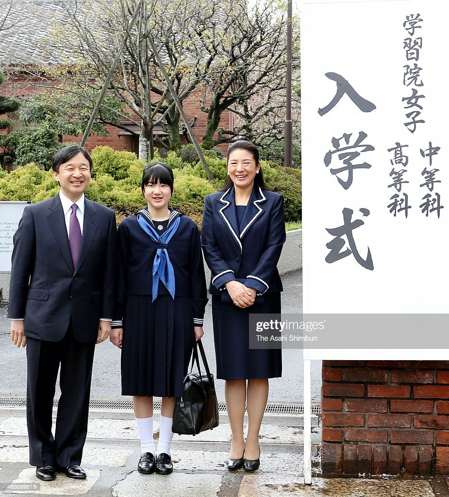 Crown Prince Naruhito, Princess Aiko and Crown Princess Masako pose for photographs prior to the Gakushiun Girls' Junior High School Welcome Ceremony on April 6, 2014 in Tokyo, Japan.