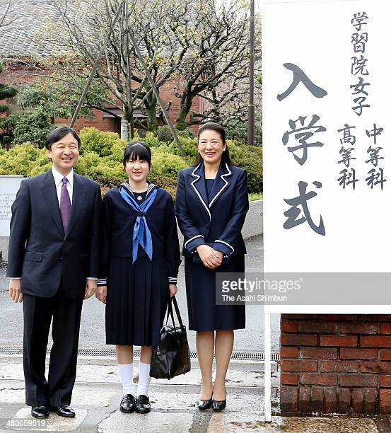Crown Prince Naruhito Princess Aiko and Crown Princess Masako pose for photographs prior to the Gakushiun Girls' Junior High School Welcome Ceremony...
