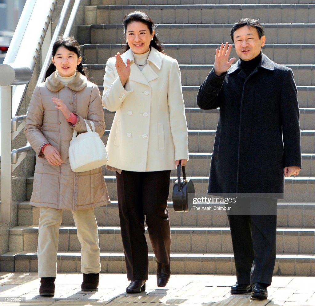 Crown Prince Naruhito Princess Aiko and Crown Princess Masako wave to wellwishers upon arrival at Nagano Station on March 26 2013 in Nagano Japan