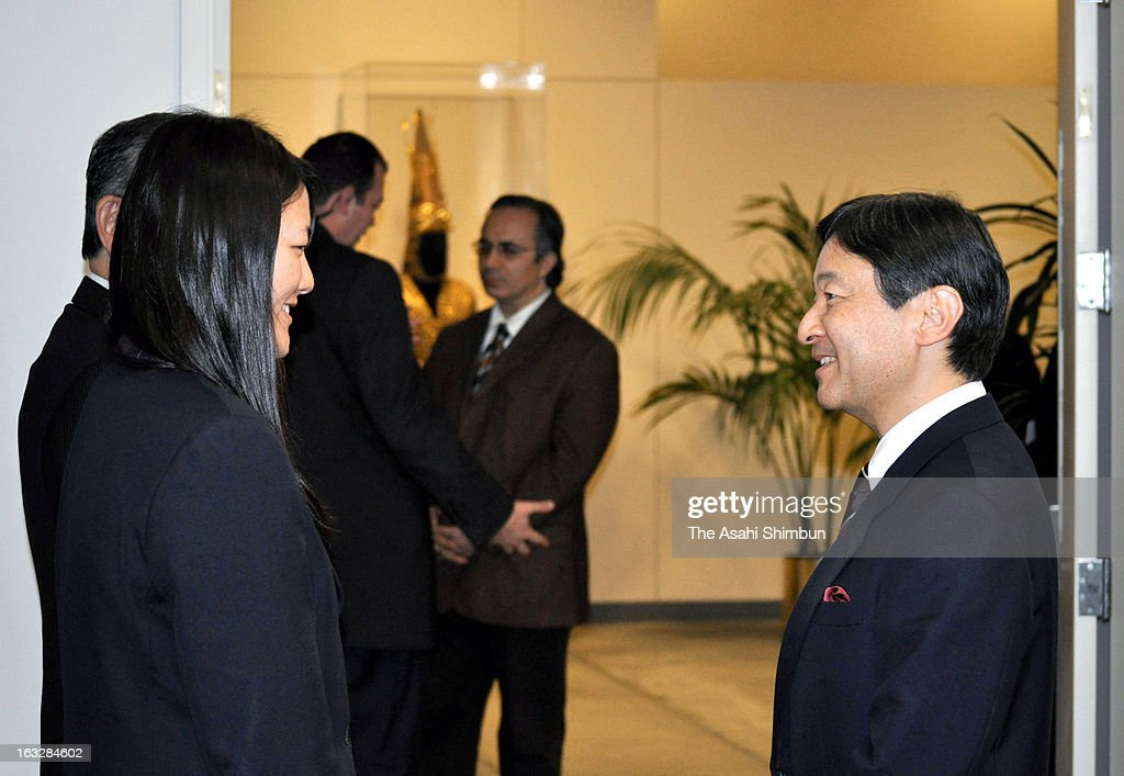 <a gi-track='captionPersonalityLinkClicked' href=/galleries/search?phrase=Crown+Prince+Naruhito&family=editorial&specificpeople=158365 ng-click='$event.stopPropagation()'>Crown Prince Naruhito</a> (R) speaks to Japanese high school student Honoka Miura, who suffered the Magnitude 9.0 earquake and the following tsunami at her hometown Minamisanriku, prior to the Special Thematic Session of the General Assembly on Water and Disasters at the United Nations on March 6, 2013 in New York. Prince Naruhito is on four-day tour to United States.