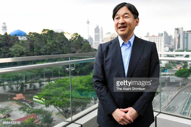 Crown Prince Naruhito talks to media reporters on April 16 2017 in Kuala Lumpur Malaysia Crown Prince is 5day tour to Malaysia to mark the 60th...