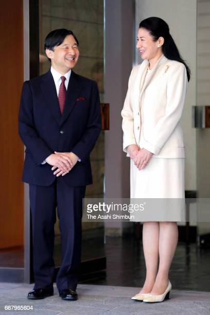 Crown Prince Naruhito talks with Crown Princess Masako on deparature at Togu Palae on April 13 2017 in Tokyo Japan Crown Prince is 5day tour to...