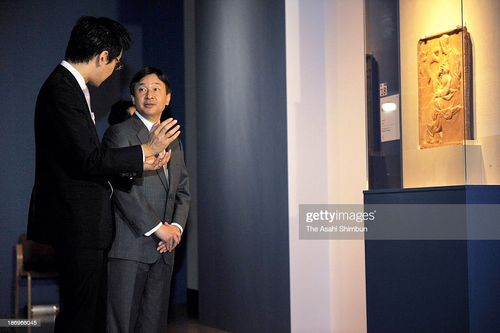 Crown Prince Naruhito visits the exhibition 'Michelangelo Buonarroti - The Making of a Genius and the 500th Anniversary of the Sistine Chapel' at the National Museum of Western Art on November 5, 2013 in Tokyo, Japan.