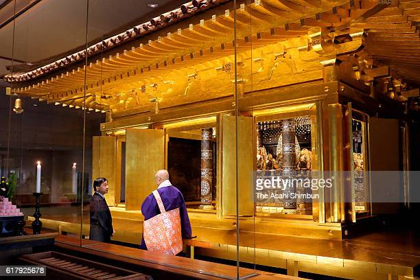 Crown Prince Naruhito visits the golden hall of Chusonji Temple on October 23 2016 in Hiraizumi Iwate Japan